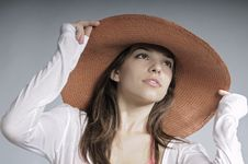 Free Model Posing With Summer Hat Stock Photography - 20473972