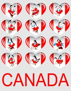Vector Set Of Hearts With A Flag Royalty Free Stock Photo
