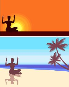 Free Yoga On The Beach Stock Image - 20475041