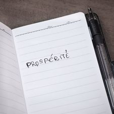 Notepad Page With Word Prosperity Written In It Royalty Free Stock Photography