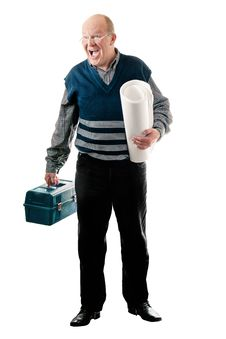 Free Confident Man With Toolbox And Roll Of Canvas Royalty Free Stock Photography - 20476027