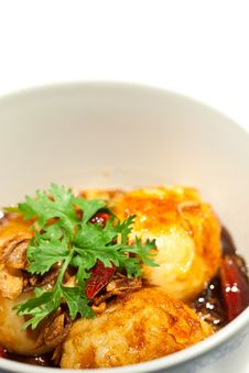 Free Fried Eggs Topped With Sweet Sauce Stock Photo - 20476050