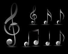 Glossy Black Music Note Stock Photography