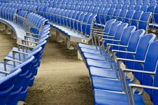 Free Empty Blue Stadium Seats Royalty Free Stock Photography - 20477437