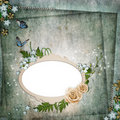 Free Frame For Photo With Roses, Leaf And Butterfly Stock Photos - 20487313