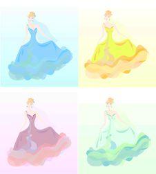 Set Of Young Women In Beautiful Dress
