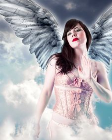 Sweet Angel, Over Cloud Background. Royalty Free Stock Photos