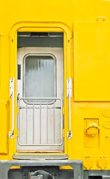 The Door Of Yellow Color  Train Stock Image