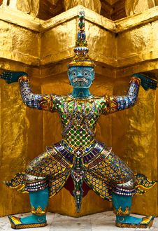 Monkey Warrior In Grand Palace Stock Image