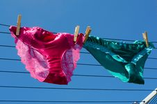 Free Lesbian Concept Of Silk Knickers On Washing Line Stock Photos - 20483013