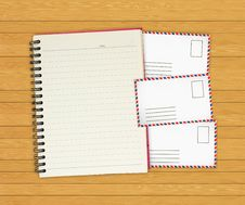 Free Note Book With Old Envelopes On Wooden Stock Image - 20485041