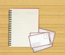 Free Note Book With Old Envelopes On Wooden Stock Images - 20485084