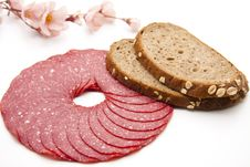 Paprika Salami With Bread Royalty Free Stock Image