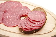 Paprika Salami On Bread Stock Photos