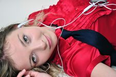 Free Attractive Girl Enjoying Music. Royalty Free Stock Photography - 20485647