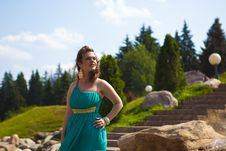Free Extraordinarily Beautiful Girl In A Blue Dress Stock Images - 20485764