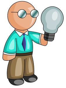 Man With A Light Bulb Royalty Free Stock Photos
