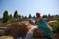 Free Extraordinarily Beautiful Girl In A Blue Dress Stock Photo - 20485890