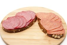 Free Bread With Salamis Stock Image - 20486001