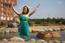 Free Extraordinarily Beautiful Girl In A Blue Dress Stock Photos - 20486193