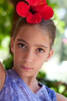 Free Portrait Of A Girl Wearing Flower In Her Hair Royalty Free Stock Image - 20487356