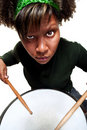 Free Angry African Girl Playing Drums Stock Photography - 20495472