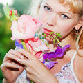 Free Gentle Erotic Woman With Flowers Royalty Free Stock Photography - 20496837