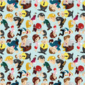 Free Seamless Cartoon Office Worker Pattern Royalty Free Stock Images - 20497749