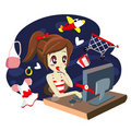 Free Computer Girl Shopping - Vector Royalty Free Stock Images - 20499639