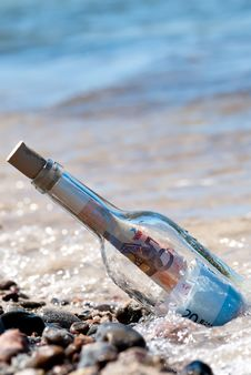 Free Message In A Bottle Euronotes Stock Image - 20493601