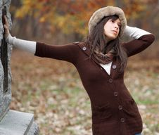 Pretty Young Woman In Autumn Royalty Free Stock Image