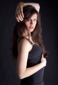 Gorgeous Woman In Elegant Black Dress Stock Photography