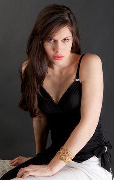 Sexy Woman In Black Dress Stock Photos