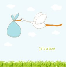 Baby Arrival Card With Stork That Brings A Cute Stock Images