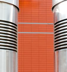 Abstraction, Metalpipe In Front Of The Brickwork Stock Photography
