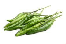Free Fresh Green Chilly Close Up Isolated On White Royalty Free Stock Image - 20496616