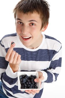 Free Healthy Life - Eating Blueberries Stock Photos - 20496923