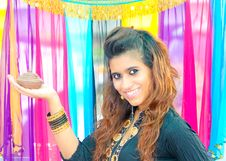 Free Pakistani Model With Lamp Stock Photo - 20497260