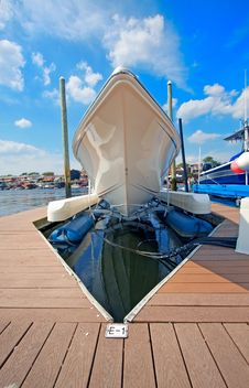 Free Motor Boat Docked In The Marina. Royalty Free Stock Images - 20497299