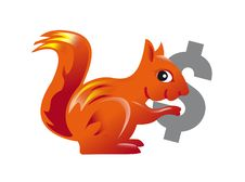 Free Red Squirrel Carrying A Dollar Symbol Stock Image - 20498151