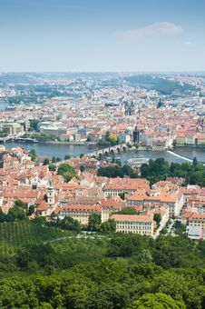 Prague Skyline From Petrin Tower Royalty Free Stock Photo