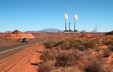 Free The Landscape Near Page, Arizona With A Power Plant Royalty Free Stock Photos - 2050118