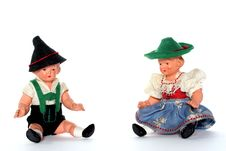 Free 2 Dolls With Traditional European Dresses Royalty Free Stock Image - 2051116