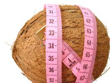 Free Coconut With Pink Tape Measure Over White Background (concept Of Royalty Free Stock Photography - 2052257