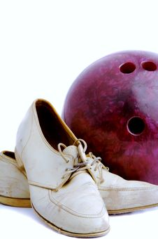 Vintage Shoes And Bowling Ball Royalty Free Stock Photo