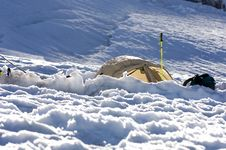 Free Yellow Tent Above The Snow Stock Photo - 2057080