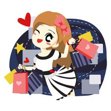 Free Women Love To Shopping - Vector Stock Photography - 20500112