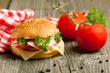 Free Fresh Sandwich With Ham And Tomato Stock Photo - 20501900
