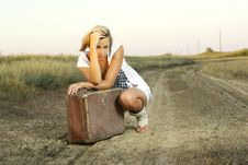 Free Pretty Girl With A Suitcase Royalty Free Stock Photo - 20502055