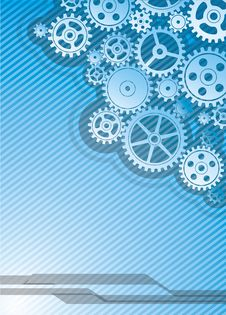 Blue Cogs Background Royalty Free Stock Image